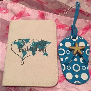 Handbags - PASSPORT HOLDER canvas & sandal bag tag NEW